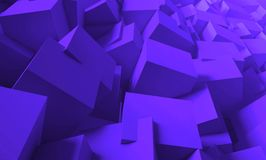 3d render. Bright, juicy background of cubes. Minimalist, abstract background with cubes, neon light. 3d render, minimal Royalty Free Stock Photo