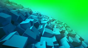 Minimalist, abstract background with cubes, neon light. 3d render, minimal Royalty Free Stock Images