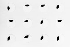 Minimalist abstract black-and-white background with circles and black leaves. Royalty Free Stock Photos