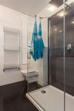 Minimalist apartment - shower. Minimalist apartment - glass shower in a modern bathroom Royalty Free Stock Photography