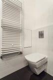 Minimalist apartment - toilet. Minimalist apartment - wc in white bathroom interior Royalty Free Stock Photos