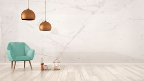 Minimalist architect designer concept background with marble wall, turquoise armchair, candles and decor on parquet flooring, livi. Ng room interior design with Stock Photo