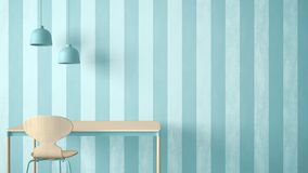 Minimalist architect designer concept, table desk and chair, kitchen or office with lamps on striped wallpaper background, blue pa stock illustration