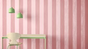 Minimalist architect designer concept, table desk and chair, kitchen or office with lamps on striped wallpaper background, pink an stock illustration
