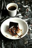Minimalist , artistic breakfast with coffee and chocolate cake Stock Photos