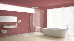 Minimalist badrum med badkaret och dusch, parkettgolv och M vektor illustrationer