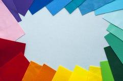 Minimalist bakgrundsram från mångfärgad filt Arkivfoton