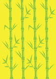 Minimalist Bamboo Vector Illustration on Bright Yellow Backgroun Stock Images