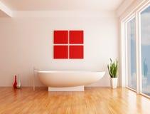 Minimalist bathroom. Minimalist white bathroom with fashion bathtub - rendering Stock Image