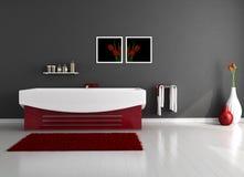 Minimalist bathroom. Red and black minimalist bathroom - rendering royalty free illustration