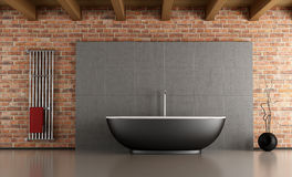 Minimalist bathroom. Bathroom with black bathtub in front a cement and brick wall-rendering Royalty Free Stock Photo