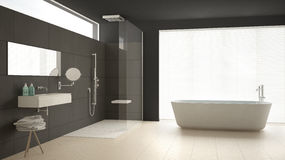 Minimalist bathroom with bathtub and shower, parquet floor and m. Arble tiles, classic gray interior design Stock Images