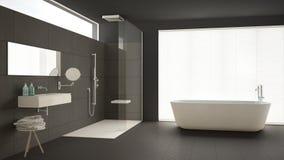 Minimalist bathroom with bathtub and shower, parquet floor and m. Arble tiles, classic gray interior design Stock Photo