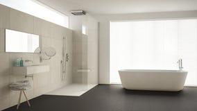 Minimalist bathroom with bathtub and shower, parquet floor and m Stock Photos