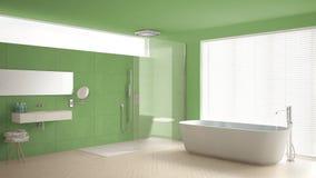 Minimalist bathroom with bathtub and shower, parquet floor and m Royalty Free Stock Photos
