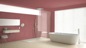 Minimalist bathroom with bathtub and shower, parquet floor and m Royalty Free Stock Photography
