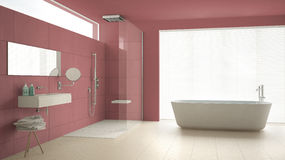 Minimalist bathroom with bathtub and shower, parquet floor and m. Arble tiles, classic white and red interior design Stock Image