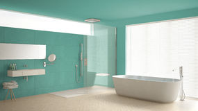 Minimalist bathroom with bathtub and shower, parquet floor and m Stock Photography