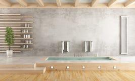 Minimalist bathroom with sunken bathtub Royalty Free Stock Photo