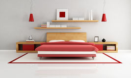 Minimalist bedroom Stock Photos