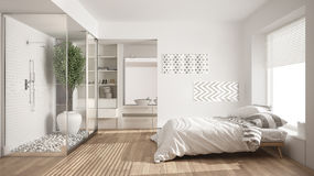 Minimalist bedroom and bathroom with shower and walk-in closet,. Classic scandinavian interior design royalty free stock image