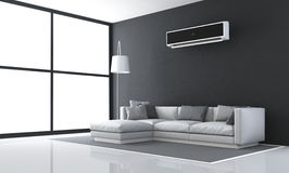 Minimalist black and white living room. With sofa and air conditioner - 3d rendering royalty free illustration