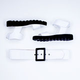 Minimalist blanco y negro de los accesorios atractivos de las señoras de la moda Imagen de archivo libre de regalías