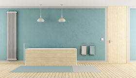 Minimalist blue bathroom. With wooden bathtub, radiator and closed door - rendering royalty free illustration