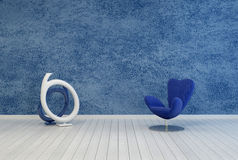 Minimalist blue living room decor and interior Stock Photo