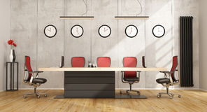 Minimalist boardroom with modern furniture. Minimalist boardroom with modern meeting table and concrete wall on background - 3D Rendering Stock Image
