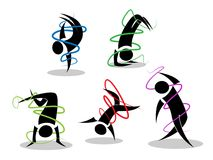 Minimalist break dance figures Royalty Free Stock Image