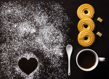 Minimalist breakfast with coffee, biscuits, brown sugar cubes, a Stock Images