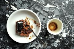 Minimalist breakfast with coffee and chocolate cake Stock Photo