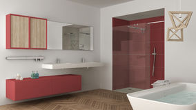 Minimalist bright bathroom with double sink, shower and bathtub, Royalty Free Stock Images