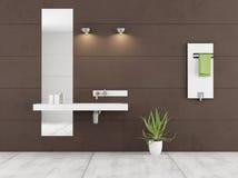 Minimalist brown bathroom Stock Photography