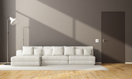 Minimalist brown living room Stock Images