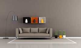 Minimalist brown livingroom Royalty Free Stock Image