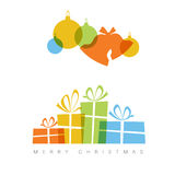 Minimalist Christmas card with decorations and gifts boxes Royalty Free Stock Photography
