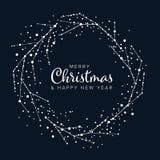 Minimalist Christmas flyer/card template. Minimalist Christmas flyer card temlate with abstract advent wreath on a dark blue background stock illustration