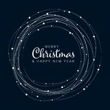 Minimalist Christmas flyer/card template. Minimalist Christmas flyer card temlate with white snowflakes on dark background vector illustration