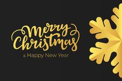 Minimalist Christmas and New Year card design with hand lettering wishes and luxury decoration of a gold foil on black premium pap. Er royalty free illustration