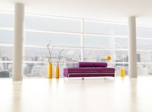 Minimalist city interior. Rendering - the image on background is a my photo - new york april 2009 stock illustration