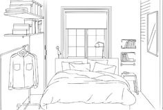 Minimalist Clean and Neat Bedroom Outline and Sketch Vector Illustration. Clean and Neat Minimalist Bedroom Outline and Sketch Vector Illustration for many Royalty Free Stock Photo