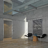 Minimalist Concrete Interior Royalty Free Stock Photography