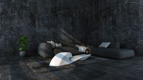 Minimalist concrete loft with gray sofa Royalty Free Stock Images