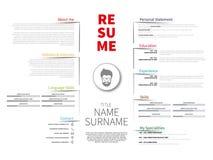 Minimalist CV, resume with simple design,. Minimalist CV, resume template with simple design stock illustration