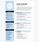 Minimalist CV template blue color. Vector stock illustration