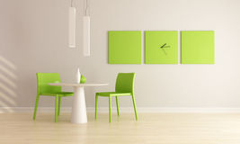 Minimalist dining room. Green and white minimalist dining room - rendering Royalty Free Stock Photography