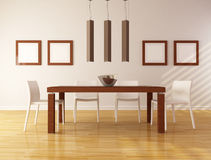 Minimalist dining room. Elegant dining room with wooden table and white chair - rendering Stock Photography