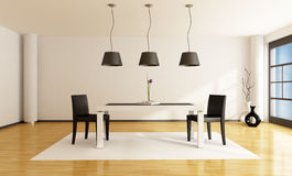 Minimalist dining room. With white table and two black chairs - rendering Royalty Free Stock Photography